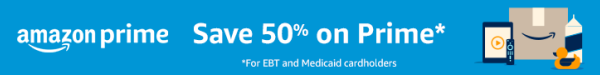 save 50% on amazon prime